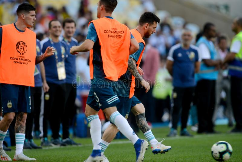2019 America Cup. Rio de Janeiro, Brazil - June 28, 2019: Lionel Messi player of Argentina entering the field before the 2019 America Cup game in the Round of 8 stock photo