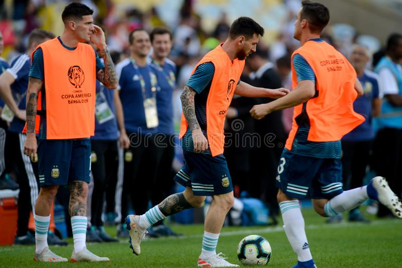 2019 America Cup. Rio de Janeiro, Brazil - June 28, 2019: Lionel Messi player of Argentina entering the field before the 2019 America Cup game in the Round of 8 stock images