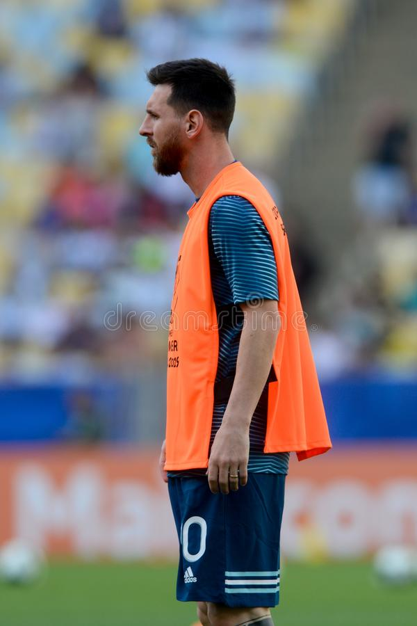 2019 America Cup. Rio de Janeiro, Brazil - June 28, 2019: Lionel Messi player of Argentina entering the field before the 2019 America Cup game in the Round of 8 royalty free stock photo