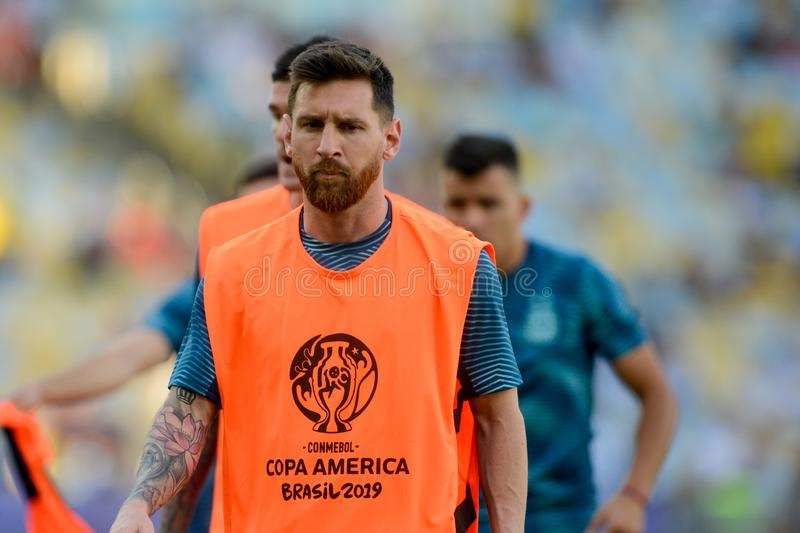 2019 America Cup. Rio de Janeiro, Brazil - June 28, 2019: Lionel Messi player of Argentina entering the field before the 2019 America Cup game in the Round of 8 royalty free stock image