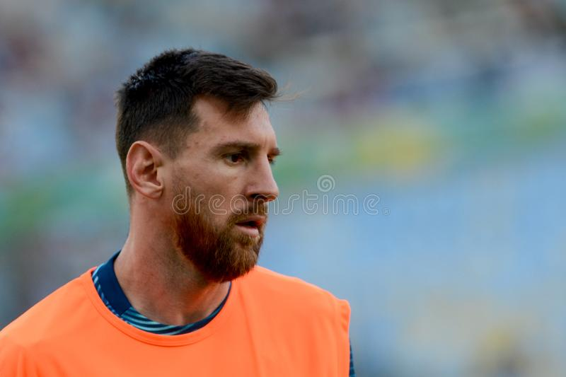 2019 America Cup. Rio de Janeiro, Brazil - June 28, 2019: Lionel Messi player of Argentina entering the field before the 2019 America Cup game in the Round of 8 stock image