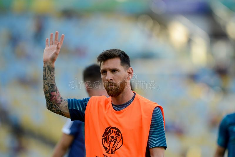 2019 America Cup. Rio de Janeiro, Brazil - June 28, 2019: Lionel Messi player of Argentina entering the field before the 2019 America Cup game in the Round of 8 stock photography