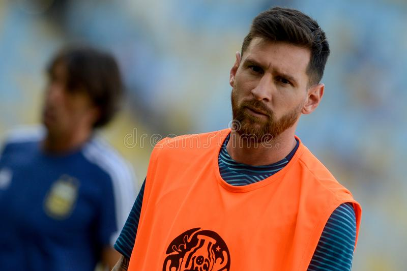 2019 America Cup. Rio de Janeiro, Brazil - June 28, 2019: Lionel Messi player of Argentina entering the field before the 2019 America Cup game in the Round of 8 royalty free stock photography