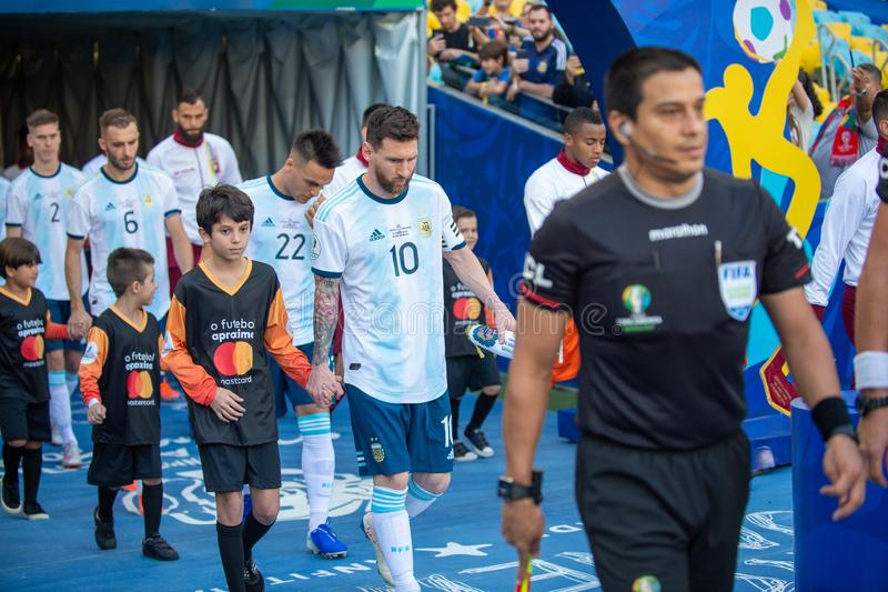 2019 America Cup. Rio de Janeiro, Brazil - June 28, 2019: Lionel Messi player of Argentina entering the field before the 2019 America Cup game in the Round of 8 royalty free stock photos