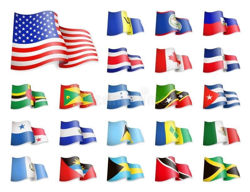 America do Norte embandeira a coleção Bandeiras de ondulação ilustração do vetor