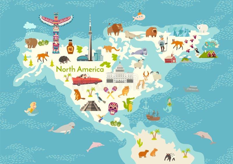 America do Norte, mapa do mundo com ilustração dos desenhos animados do vetor dos marcos ilustração stock