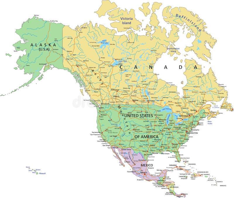 America do Norte - mapa político editável altamente detalhado ilustração royalty free