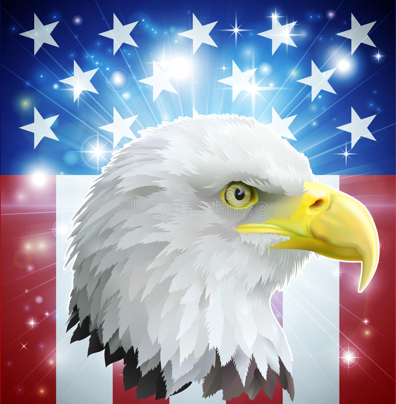 America eagle flag concept. Eagle America love heart concept with and American bald eagle in front of the American flag style banner stock illustration