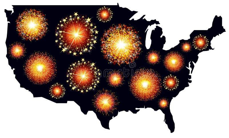 Download America fireworks stock illustration. Illustration of celebrating - 35235498