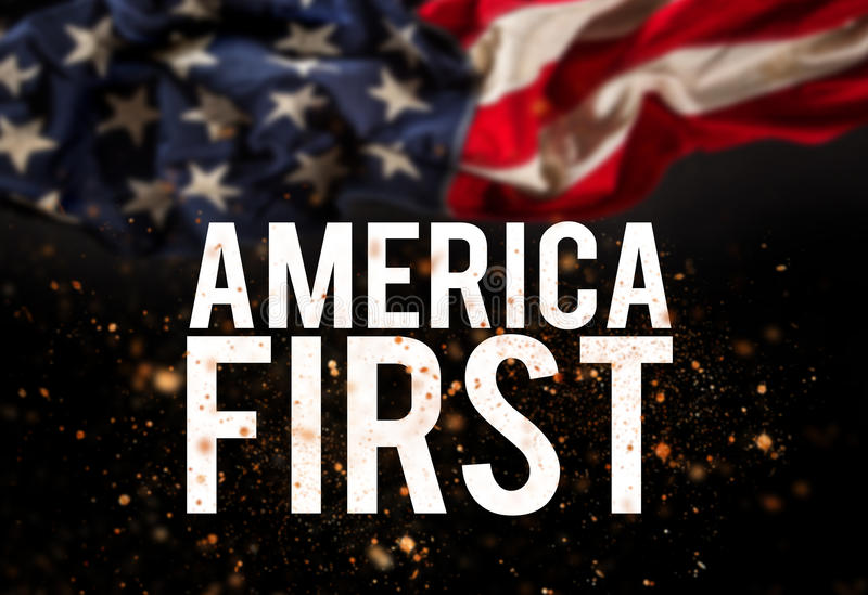 America first catcheword with american flag. Patriotic concept royalty free stock photos