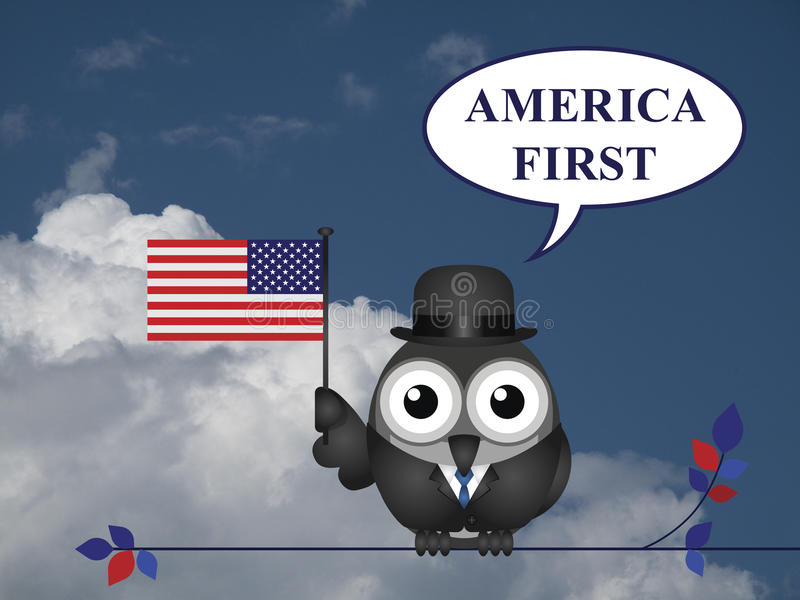 America First pledge. America First presidential inauguration pledge against a blue cloudy sky vector illustration