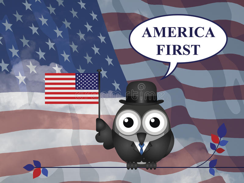 America First pledge. America First presidential inauguration pledge against a the national flag stock illustration
