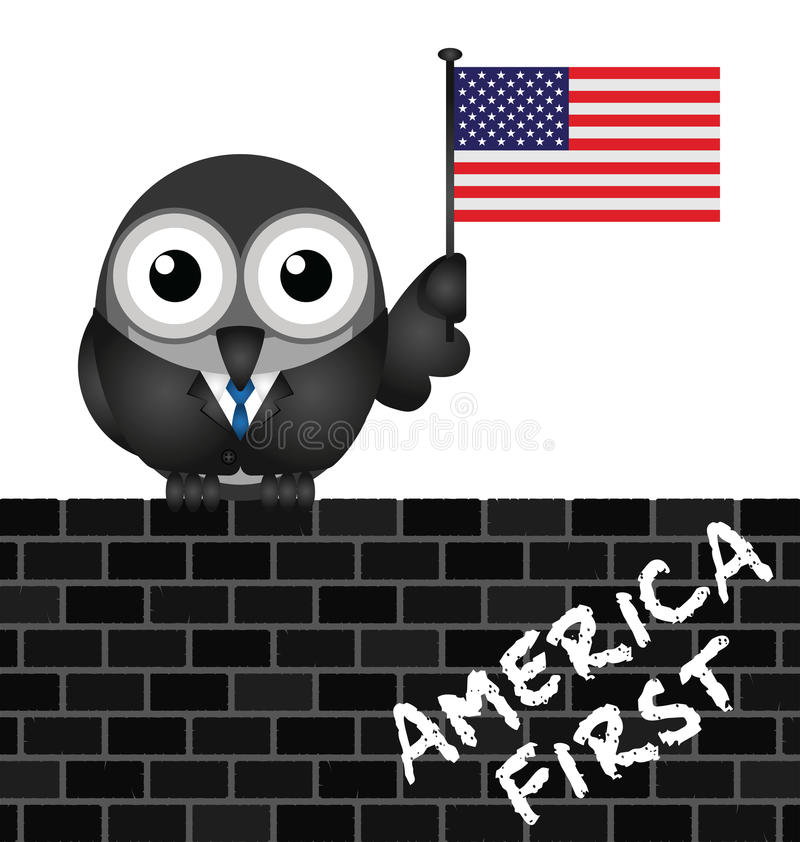 America First pledge. America First presidential inauguration pledge with bird perched on a brick wall vector illustration