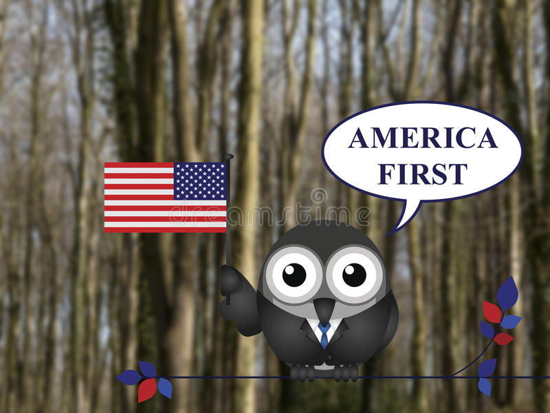 America First pledge. America First presidential inauguration pledge bird perched on a tree branch against a blurred woodland background vector illustration