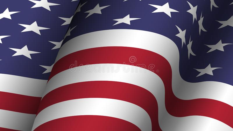 America flag background collection . Waving design . Ratio 16 : 9 . 4th of July independence day concept . Vector royalty free illustration