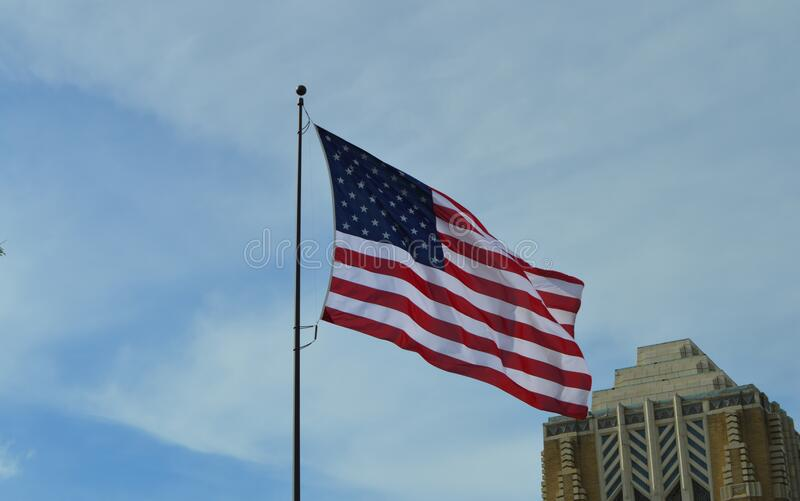 America Flag Under Blue Sky at Daytime royalty free stock photography