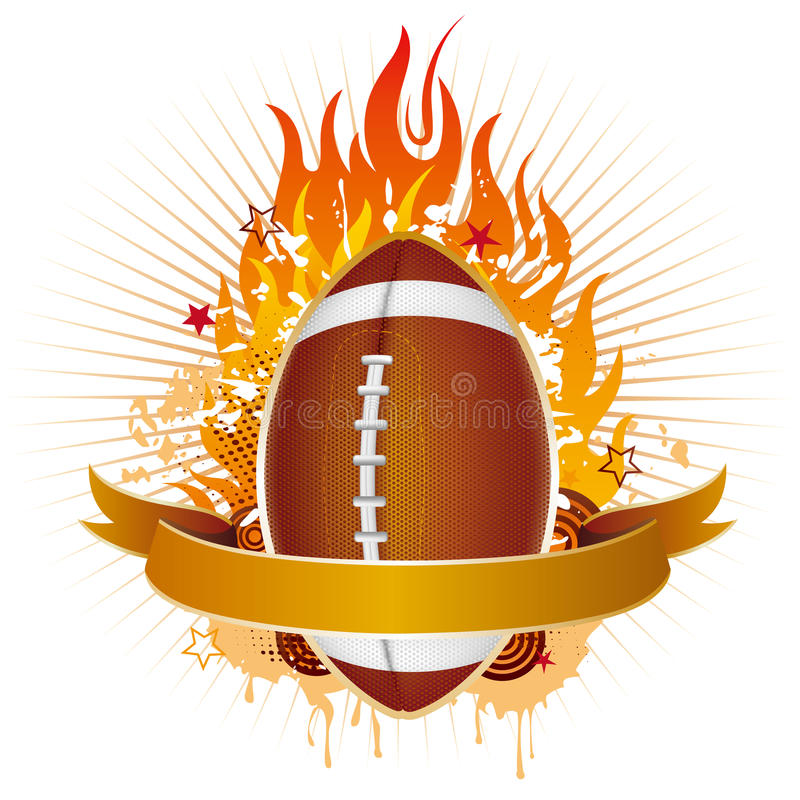 america football with flames vector illustration