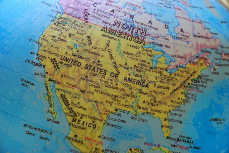 America on the globe royalty free stock photography