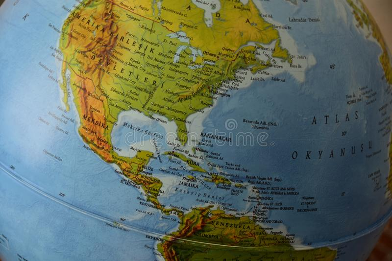 America - Highly detailed political map. Highly detailed political map of america with roads, railroads and water objects. All elements are separated in layers stock photography