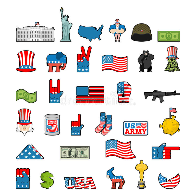 America icon set. National sign of USA. American flag and Statue. Of Liberty. White House and dollar. Map of United States. Uncle Sam and moon. Elephant and royalty free illustration