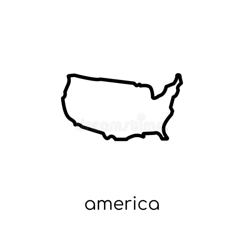 America icon. Trendy modern flat linear vector America icon on w royalty free illustration