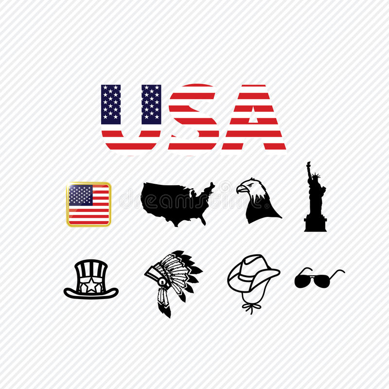 America icons set royalty free illustration