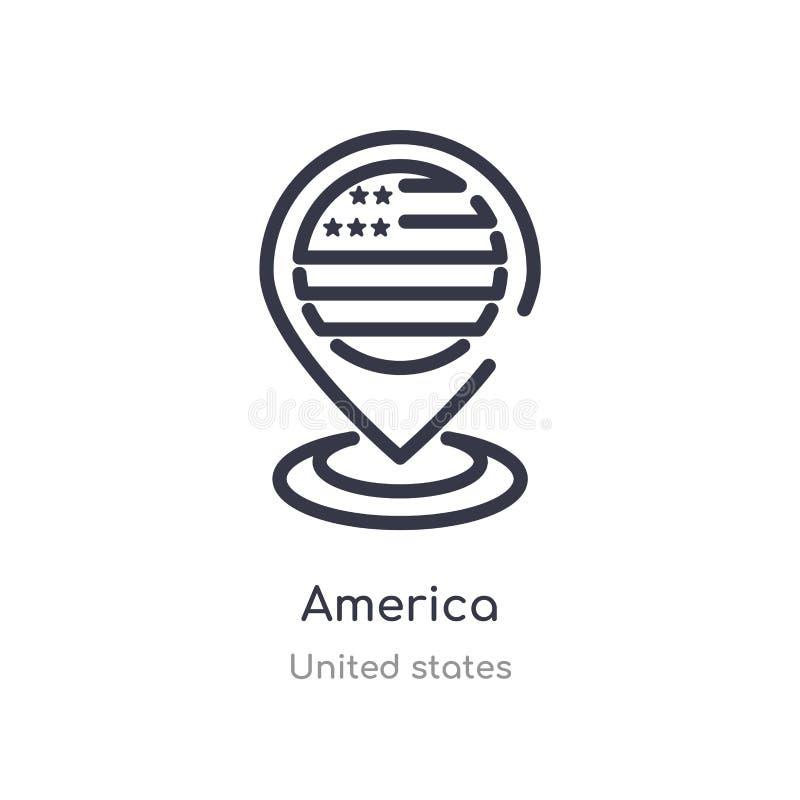 america konturu ikona odosobniona kreskowa wektorowa ilustracja od zlanych stan?w inkasowych editable cienieje uderzenia America  ilustracji