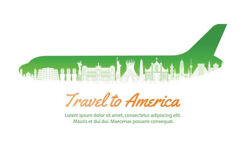 America landmark inside with plane shape,concept art silhouette. Style,vector illustration,green gradient,vector illustration royalty free illustration
