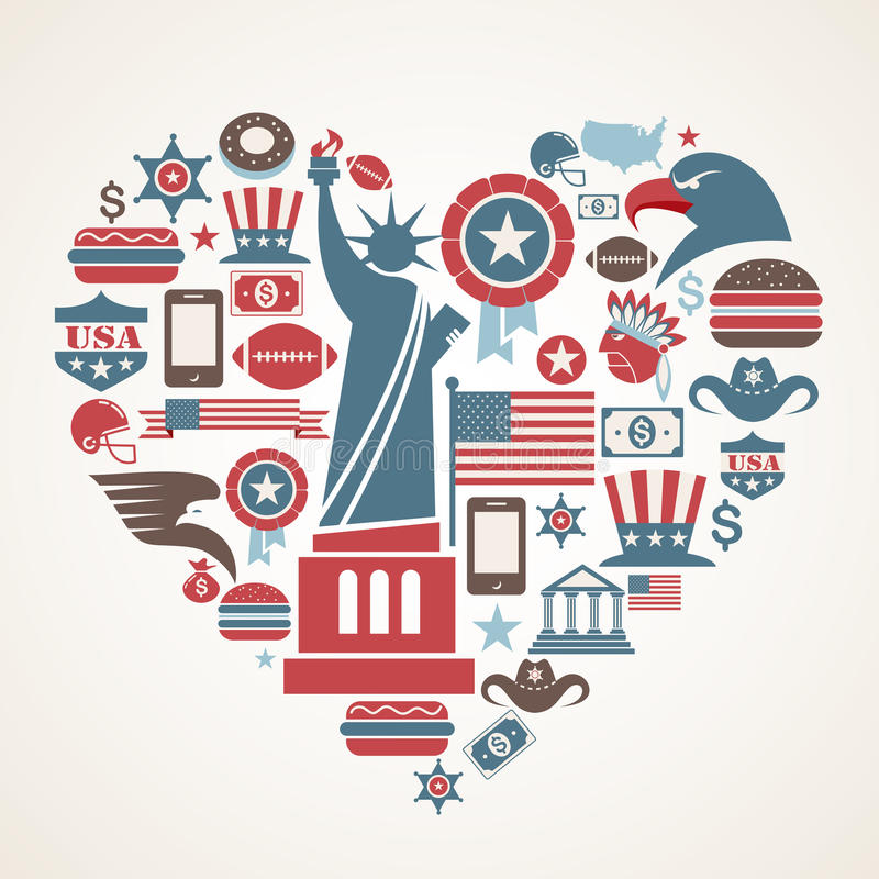 Free America Love - Heart Shape With Many Vector Icons Stock Photos - 25063103