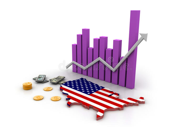 America map and currency stock illustration