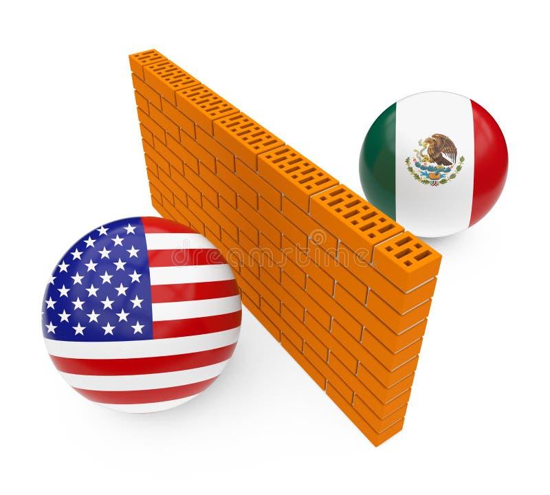 America-Mexico Border Wall vector illustration