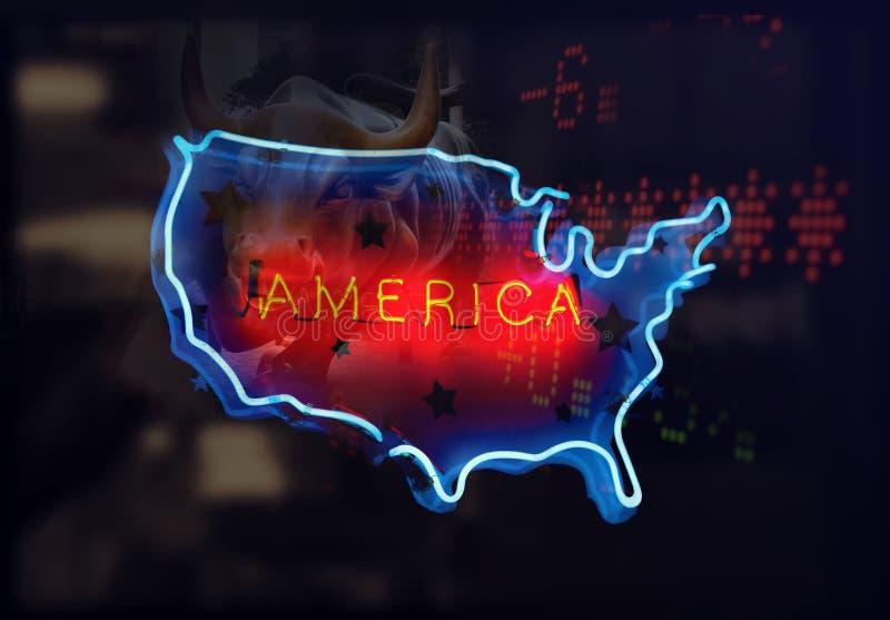 America Neon Lights. Multiple exposure royalty free stock image