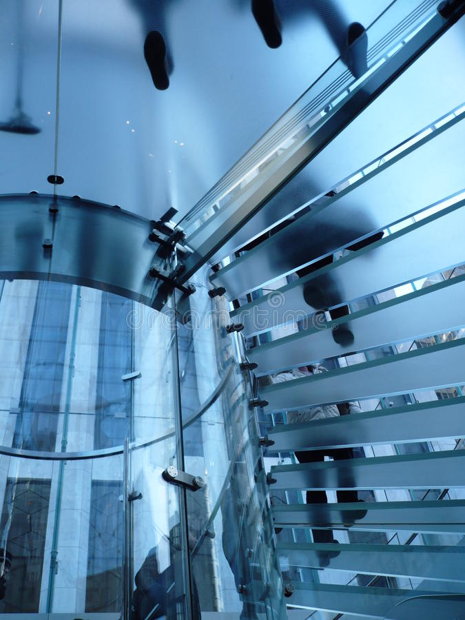 America - New York - Glass staircase. Descends to the shop in fifth avenue royalty free stock photography