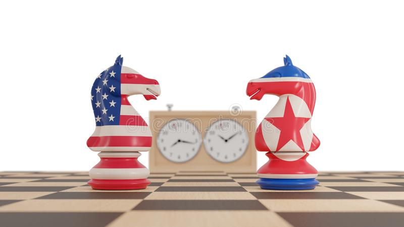 America and North Korea conflict. Chess knights. 3d illustration stock illustration