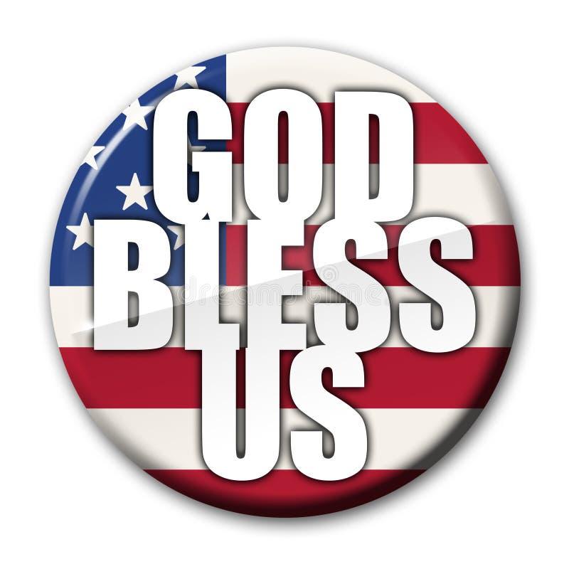 america odznaka błogosławi bóg royalty ilustracja