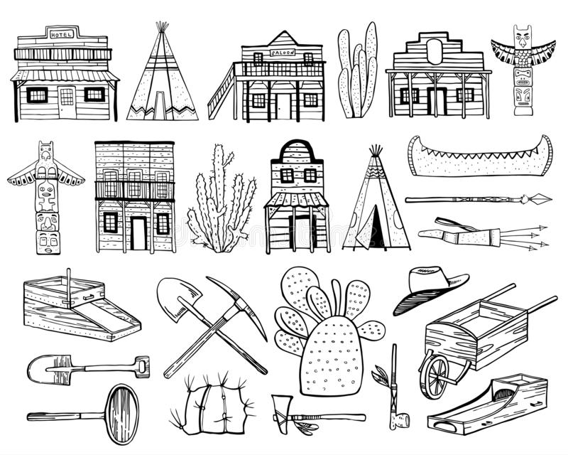 America Old West set. Native American Indians, town houses and mining objects. Hand drawn outline vector illustration royalty free illustration