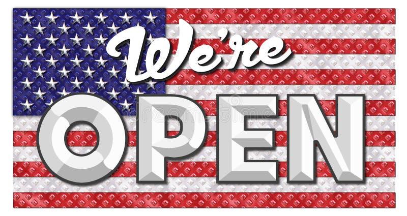 America Open for Business Art Logo Flag stock photo