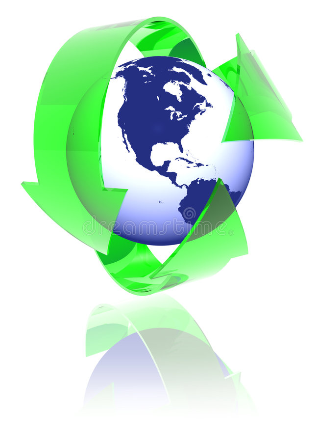 America recycle. 3D render of green recycle arrows around abstract globe royalty free illustration