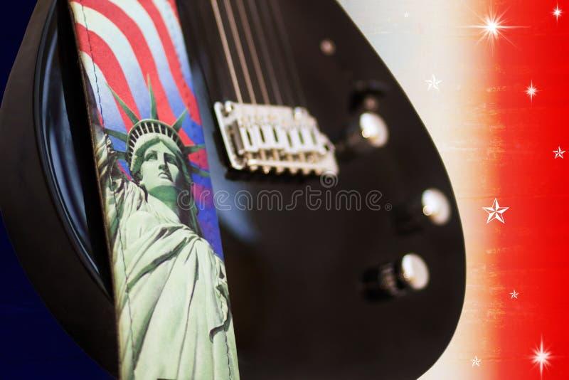 America Rocks - Electric Guitar Over USA Flag Royalty Free Stock Photos
