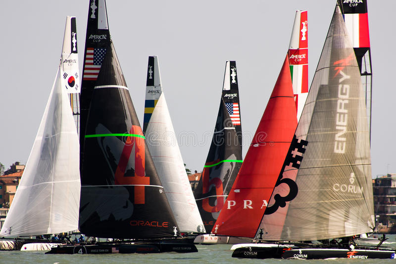 America's Cup World Series in Venice. The America's Cup World Series is a regular circuit of regattas, bringing Cup racing to top venues around the world. The AC royalty free stock image