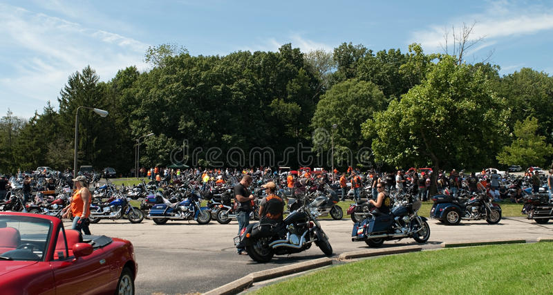 A Group Of Bikers Riding Harley Davidson Editorial