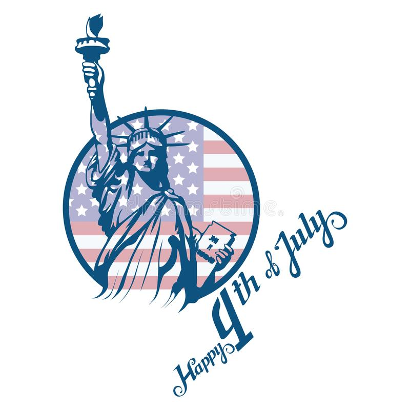 America`s Independence Day. Traditional Symbols of America. The Statue of Liberty. Happy Independence Day. American flag. vector illustration