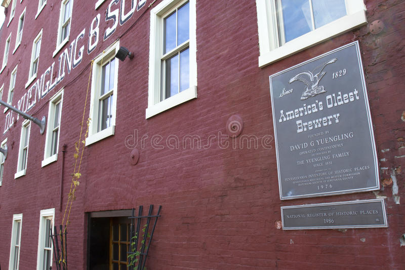 America's Oldest Brewery. Pottsville, PA, USA - September 20, 2014 : Exterior of the Yuengling Brewery in Pottsville, PA royalty free stock photos