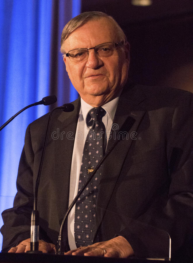 America's Toughest Sheriff Joe Arpaio. Recognized as America's toughest sheriff, Joe Arpaio, gives a speech at a conservative political function. Joe is a six stock image
