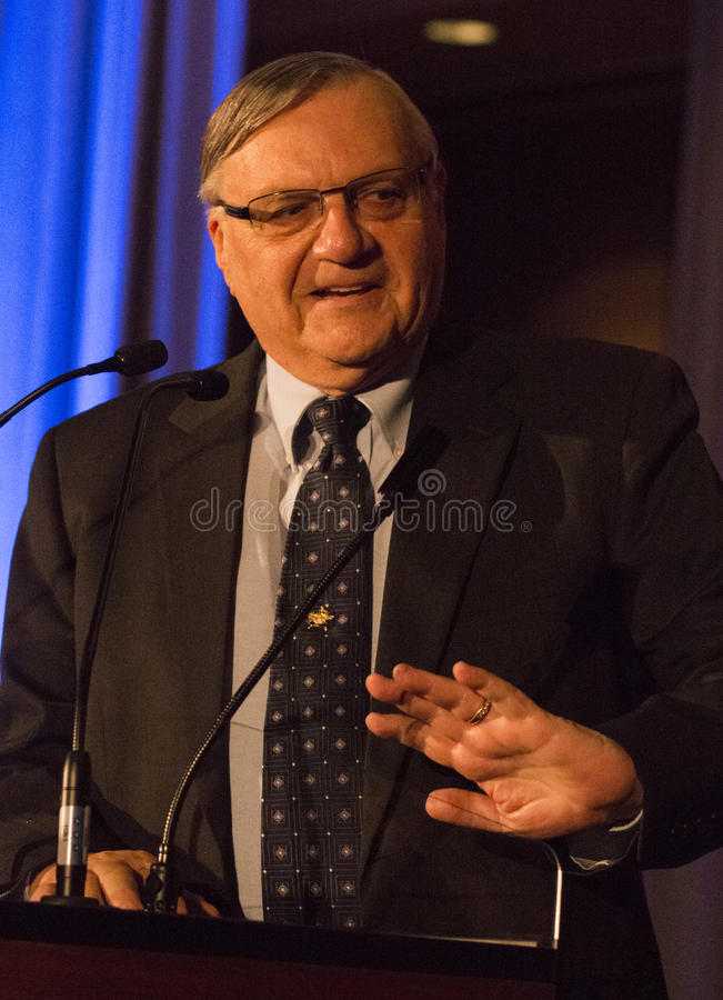 America's Toughest Sheriff Joe Arpaio. Recognized as America's toughest sheriff, Joe Arpaio, gives a speech at a conservative political function. Joe is a six royalty free stock images