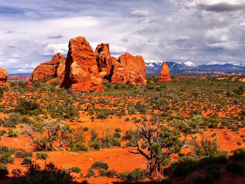 America Southwest Landscape. Amazing rock formations of the American Southwest. Desert landscape in Utah stock photography