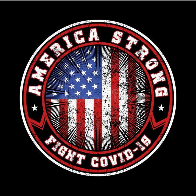 America strong fight covid-19 vector design royalty free stock image