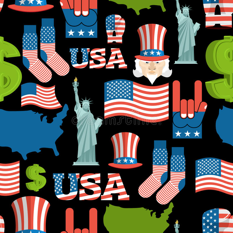 America Symbols Patriotic Pattern Usa National Ornament Stock