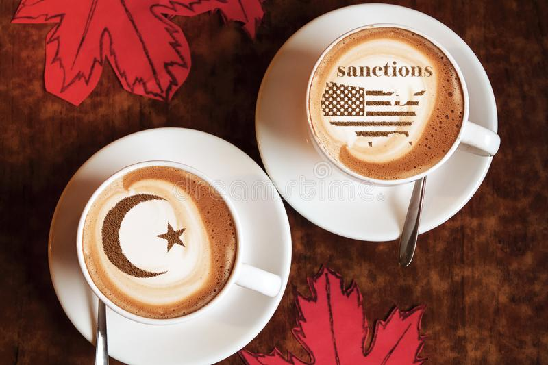 America threatens sanctions. America threatens with imposing economic sanctions for not meeting the conditions royalty free stock image