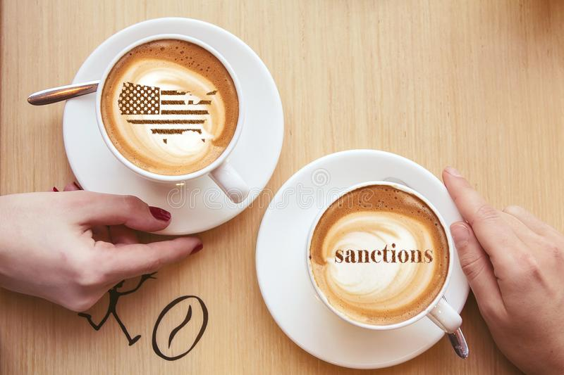 America threatens sanctions. America threatens with imposing economic sanctions for not meeting the conditions royalty free stock photos